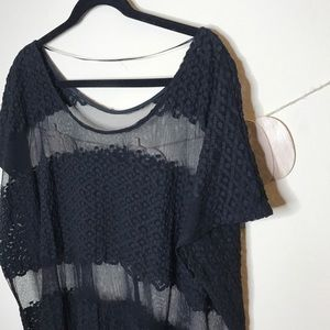 Free People Tops - Free people black open knit mesh lace tunic top